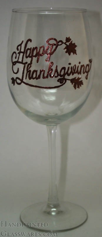 happy thanksgiving hand painted wine glasse  fall  autumn