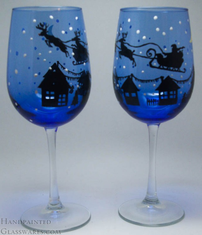 Pair Of Christmas Eve With Rudolph Hand Painted Wine Glasses
