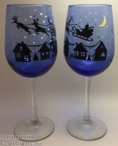 Pair of Christmas Eve with Rudolph Wine Glasses