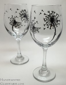 Pair of Dandelion Wine Glasses