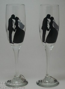 Pair of Bride & Groom Silhouette Champagne Glasses