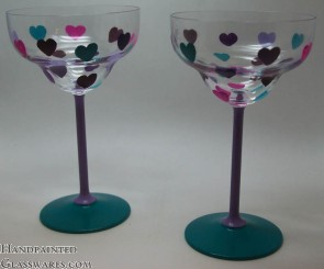 Pair of Hearts Margarita Glasses