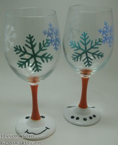 Pair of Snowman Wine Glasses with Snowflakes