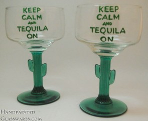 "Pair of ""Keep Calm and Tequila On"" Cactus Margarita Glasses"