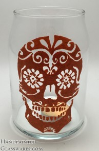 Orange Sugar Skull Candle Holder Jar