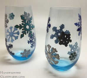 Pair of Snowflake Hand Painted Wine Glasses - *Scratched*