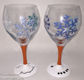 Pair of Snowman Wine Glasses with Glitter Snowflakes